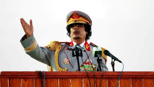 File photo of Libyan leader Muammar Gaddafi speaking during a ceremony in Tripoli
