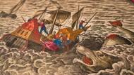 Zeichnerische Fabulierkunst: Historische Karten schildern oft unglaubliche Geschichten, bis ins kleinste Detail. Hier will sich ein Seeungeheuer ein Schiff samt Mannschaft holen. Man erkennt sogar, welche Segel die Crew setzt, um dem Unheil zu entrinnen.