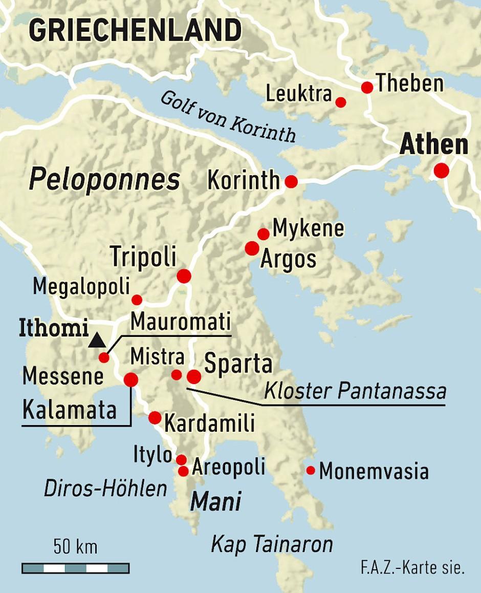 Griechenland Peloponnes Karte Deutsch.Rundreise Im Südosten Der Peloponnes