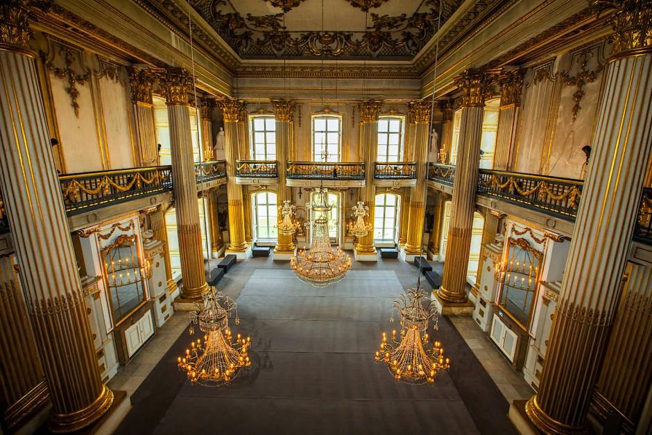 Der Goldene Saal in Ludwigslust: Nach fünf Jahren Restaurierung wurde er im vergangenen Jahr wiedereröffnet.