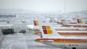 Schneechaos auf dem Flughafen von Madrid