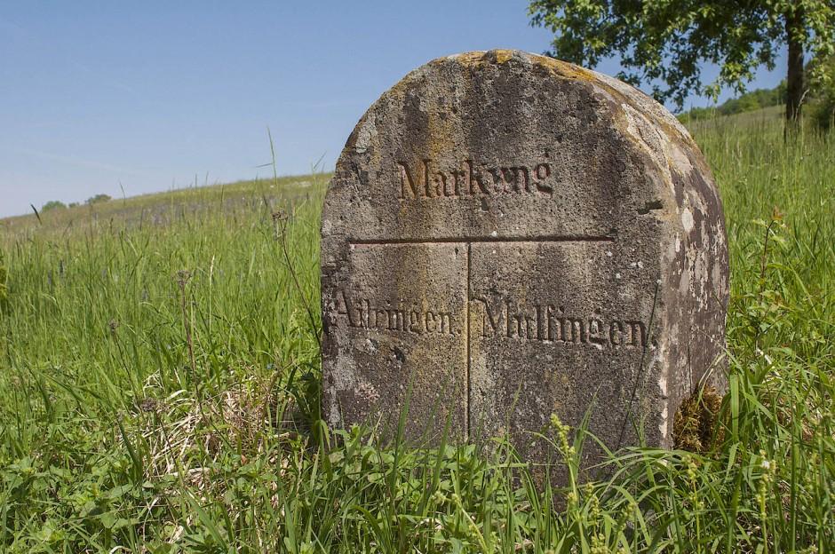 """""""Sie sind eine Wegstrecke schweigend gegangen. Was haben Sie gehört?"""" Grenzstein zwischen Ailringen und Mulfingen."""