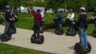 Segway-Tour durch Chicago: Erst im Schildkötengang, dann mit rasantem Tempo an den Fußgängern vorbei.
