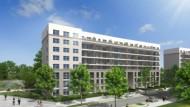Beispiele für moderne Architektur: geplantes Wohngebäude auf der Offenbacher Hafeninsel...