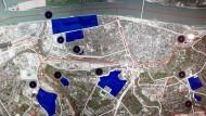 Die drei größten der 20 Entwicklungsbiete: das Zollhafengebiet am Rhein (B), die Gonsbachterrassen (K) und der Martin-Luther-Park (I)