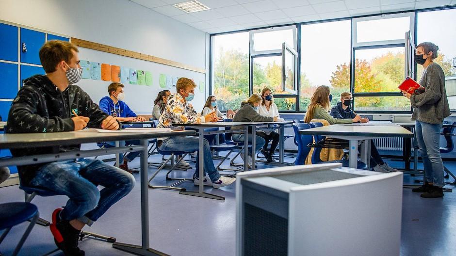 Saubere Luft: ein Luftfilter in einem Klassenzimmer