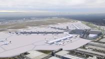 Simuliert: Die beiden Finger in der Mitte (dunkle Gebäudeteile) sollen laut Plan auf dem Flughafen in Frankfurt am Main neu gebaut werden.