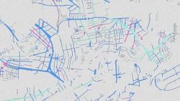 Stadtplan mit Blau und Rosa
