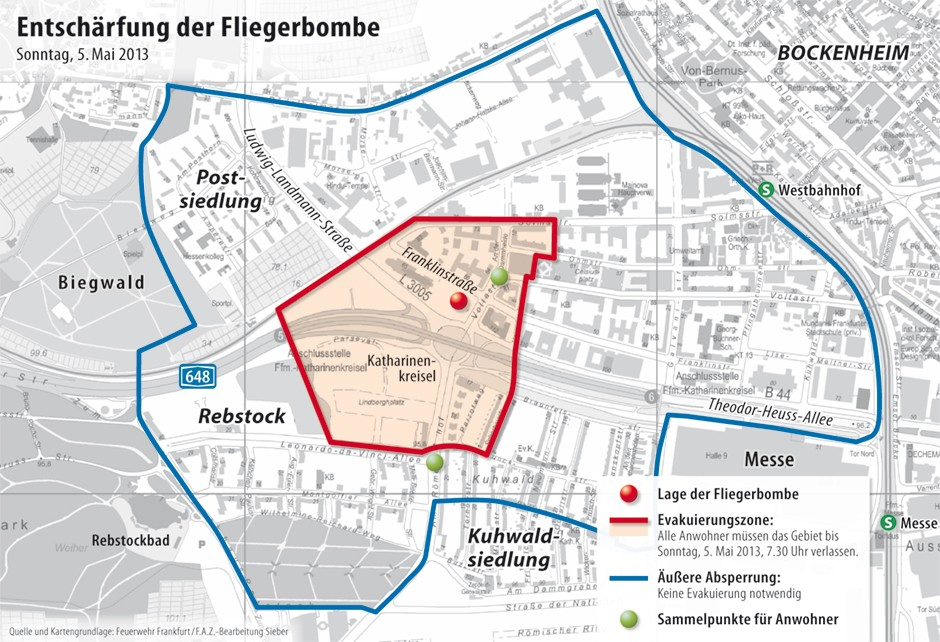 frankfurt evakuierung karte Bilderstrecke zu: Evakuierung in Frankfurt: Räumung wegen