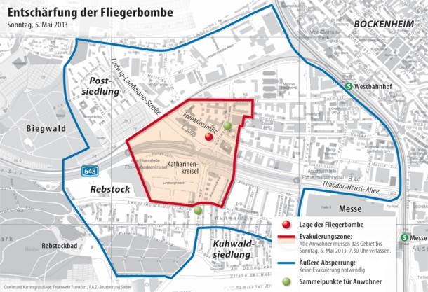 frankfurt evakuierung karte Evakuierung in Frankfurt: Räumung wegen Weltkriegsbombe
