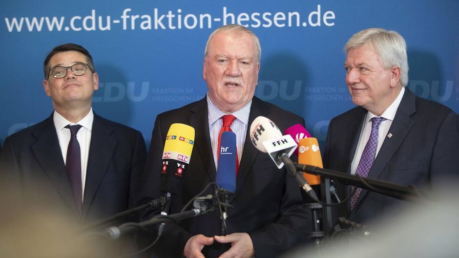 Führungsriege der hessischen CDU: Boris Rhein, Frank Lortz und Volker Bouffier (von links)