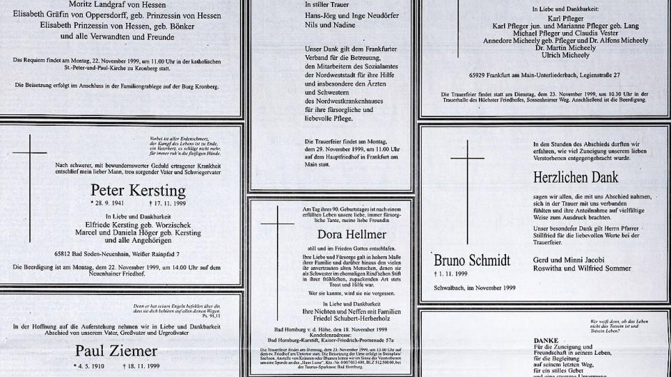 Traditionell: So sahen Todesanzeigen viele Jahre lang aus – diese hier sind 20 Jahre alt