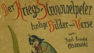 """Pickelhaube statt Nikolaus tunkt die Feinde: Der """"Kriegs-Struwwelpeter"""" von 1915."""