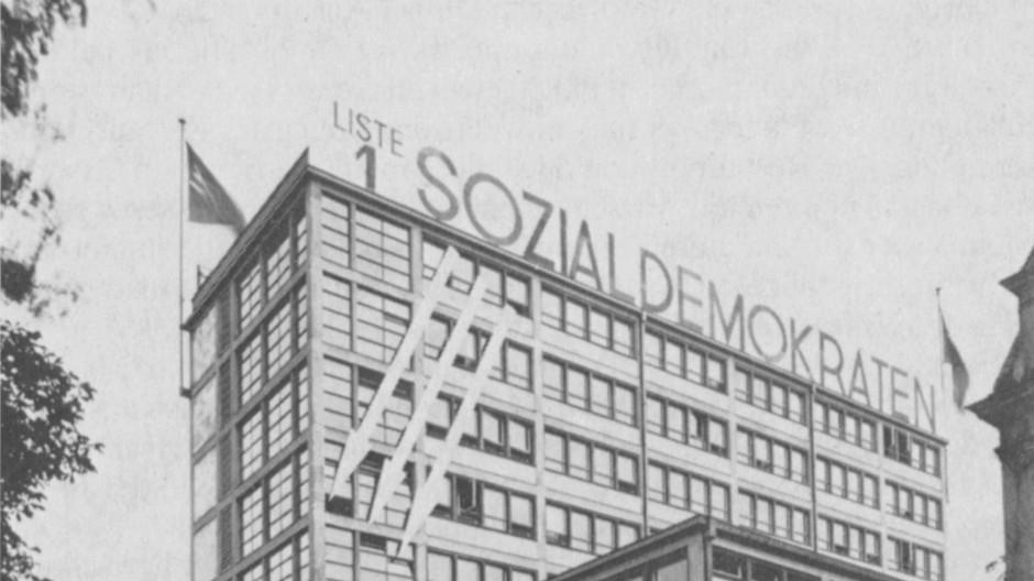 """Foto aus dem Buch """"Das Haus der Besitzlosen"""" von 1982: Das 1931 erbaute Gewerkschaftshaus in Frankfurt beherbergte auch die SPD, Aufnahme aus dem Jahr 1932."""