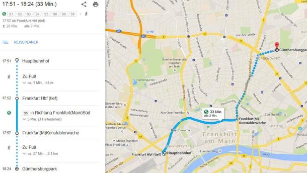 routenplaner f r frankfurt keine busse und bahnen auf google maps rhein main faz. Black Bedroom Furniture Sets. Home Design Ideas