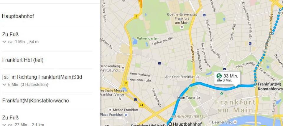 """Routenplaner für Frankfurt: Keine Busse und Bahnen auf """"Google Maps on"""