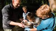 Was krabbelt da? Jörg Oehlmann untersucht mit Kindern die Nidda-Fauna.