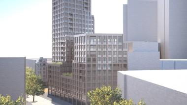 Kompromiss: Nach dem Entwurf von Max Dudler sollte der Wohnturm 84,35 Meter hoch werden. 60 Meter wollte die Stadt, nun hat man sich auf 80 Meter geeinigt.