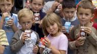 Milchbauers Lieblinge: Als dieses Bild 2008 entstand, spielte Schulmilch inklusive Kakao an Hessens Schulen noch eine Rolle als derzeit