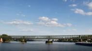 Unterbrechung: Von dem kurzfristigen Stopp betroffen war der Zugverkehrt auf der Nordbrücke, der der hier abgebildeten Südbrücke ähnlich ist