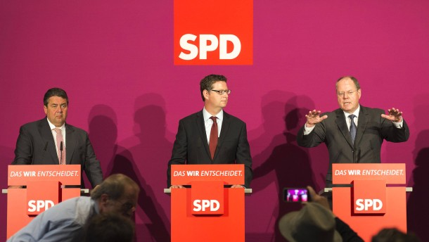 """SPD-Pressekonferenz - Peer Steinbrück, Sigmar Gabriel und Thorsten Schäfer-Gümbel im Vorfeld der Konferenz """"Gleiche Chancen für alle – eine gerechte Bildungspolitik für unser Land"""""""