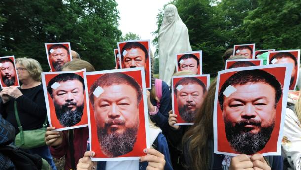 Protestaktion für Ai Weiwei in Kassel