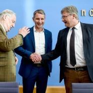 Ganz einig? Ko-Parteichef Alexander Gauland, der thüringische Spitzenkandidat Björn Höcke und Ko-Parteichef Jörg Meuthen