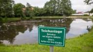 Nur ein Warnschild weist am Löschteich im nordhessischen Neukirchen auf die potentielle Gefahr hin.