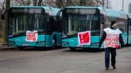 Stillstand: Busse in einem Frankfurter Depot
