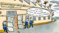 So hielt unsere Karikaturistin Teresa Habild damals den Start des Twitter-Kanals der Frankfurter Polizei fest.