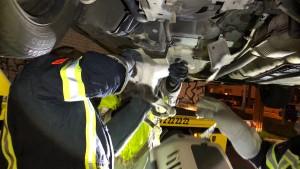 Unter einem Auto eingeklemmte Katze befreit