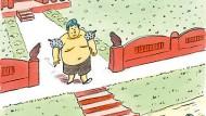 Schwimmer Mao: Cartoon von Hans Traxler