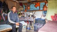 Wartestand: Ein Bewohner der Industriebranche im Frankfurter Gutleutviertel
