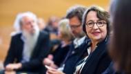 Vor der Poetikvorlesung im Hörsaal: Katja Lange-Müller auf dem Westend-Campus der Frankfurter Goethe-Universität