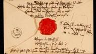 Teil-Nachlass: Die Rückseite eines Umschlags zum Brief des Gutsverwalters Joseph Frenzel vom 4. Oktober 1834 an den romantischen Dichters Joseph von Eichendorff