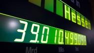 Momentaufnahme: Auf gut 39 Milliarden Euro taxierte die Schuldenuhr des Steuerzahlerbunds die Verbindlichkeiten von Hessen zu Anfang 2011