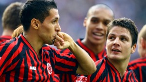 Frankfurt's Matmour celebrates goal during their German Bundesliga soccer match against Hannover in Frankfurt