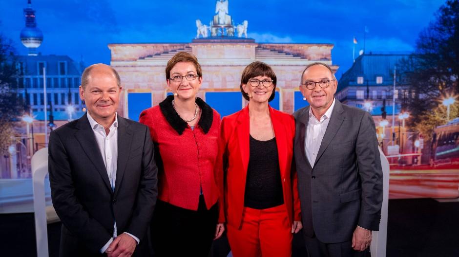 Wer soll's werden? Olaf Scholz, Klara Geywitz, Saskia Esken und Norbert Walter-Borjans