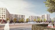 Glasbausteine: Auf dem Mainzer Heiligkreuzareal entstehen zur Hechtsheimer Straße hin Läden, Eigentums- und Sozialwohnungen