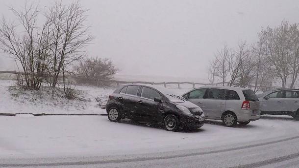 Auf dem Großen Feldberg liegt schon Schnee