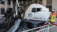 Zerstört: der in Brand geratene Flugsimulator im Condor-Gebäude am Frankfurter Flughafen