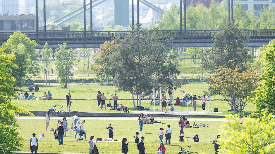 Mit Abstand: Viele Frankfurter besuchen bei schönem Wetter Parks.