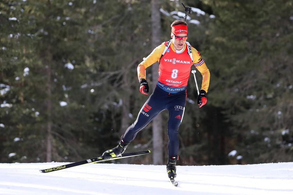 Im Laufen schon sehr gut, am Schießstand noch mit Fehlern: Philipp Horn in Antholz