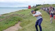 Der Amerikaner Bryson DeChambeau übt im Whistling Straits Golf Course für den Ryder Cup.