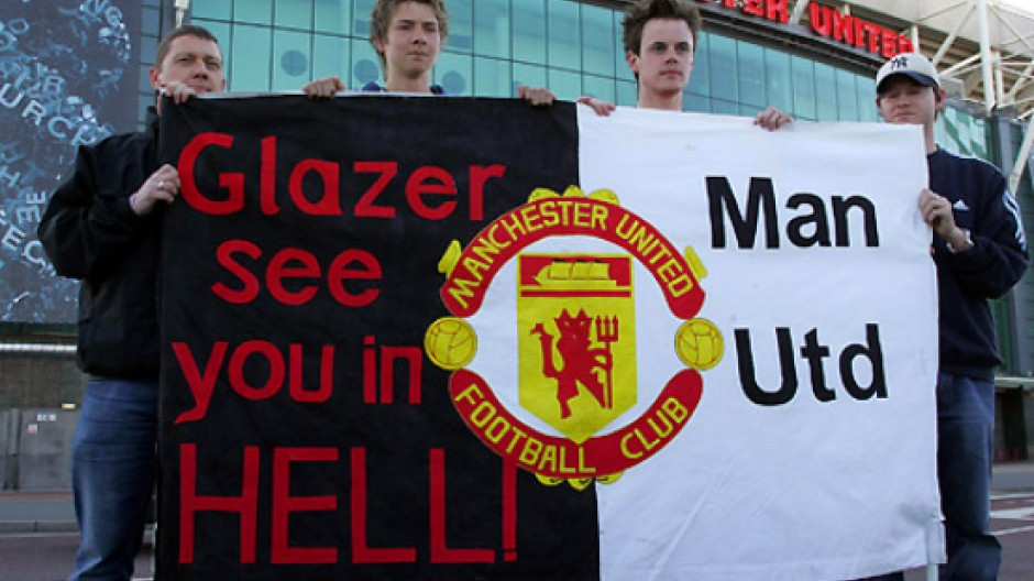 Keine Freunde: Schon 2005 protestierten viele United-Fans gegen die Übernahme des Klubs durch die Glazer-Familie