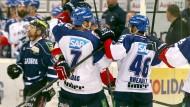 Jubel über den Siegtreffer: Die Adler Mannheim sind deutscher Eishockeymeister