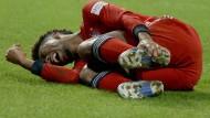 Münchner Sorgenkind: Doppeltorschütze Kingsley Coman zog sich eine Verletzung zu in der Nachspielzeit.