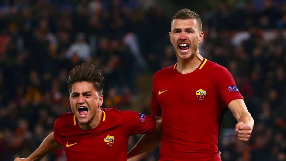 Matchwinner für den AS Rom: Edin Dzeko (rechts)
