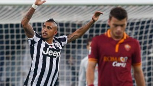 Juventus' Vidal celebrates after scoring against AS Roma during their Italian Serie A soccer match in Turin