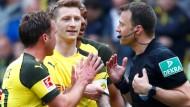 """""""Das ärmste Schwein"""": Schiedsrichter Zwayer (rechts) in Dauerdiskussion mit Dortmunder Spielern"""
